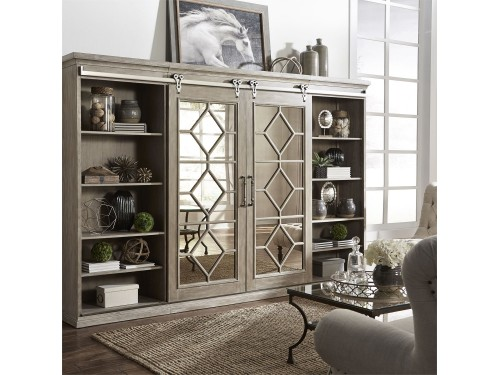 Mirrored Reflections Entertainment Center with Piers