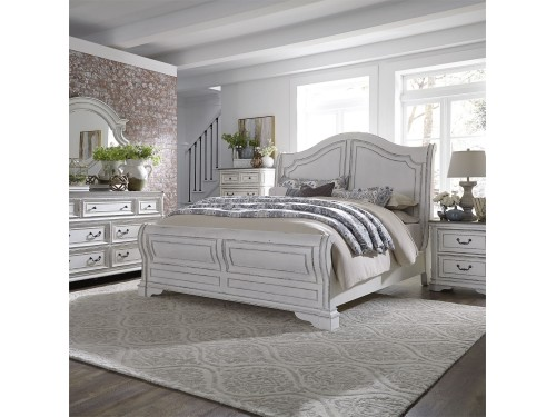 Magnolia Manor Queen Sleigh Bed, Dresser & Mirror, Chest, Night Stand