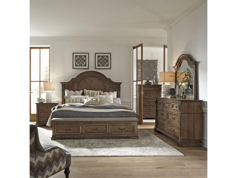 Haven Hall Queen Storage Bed, Dresser & Mirror, Chest, Night Stand