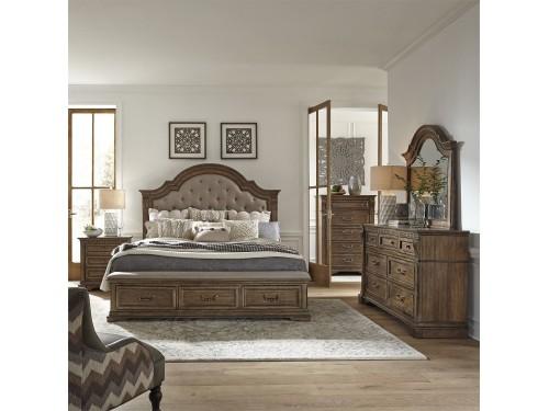 Haven Hall King Storage Bed, Dresser & Mirror, Chest, Night Stand