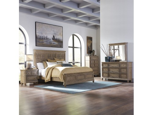 The Laurels King ional California Panel Bed, Dresser & Mirror, Chest, Night Stand