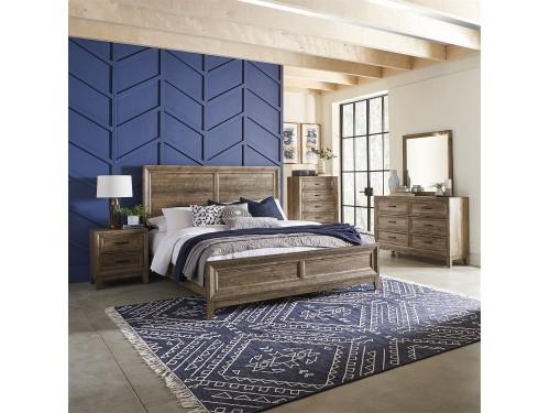 Ridgecrest King California Panel Bed, Dresser & Mirror, Chest, Night Stand