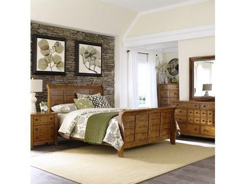Grandpas Cabin King California Sleigh Bed, Dresser & Mirror, Chest, Night Stand