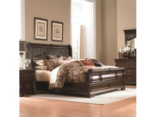 Arbor Place King California Sleigh Bed, Dresser & Mirror, Chest, Night Stand