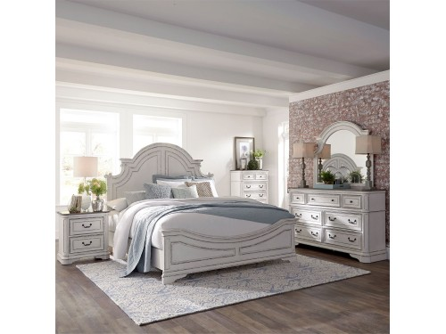 Magnolia Manor King California Panel Bed, Dresser & Mirror, Chest, Night Stand