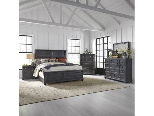 Harvest Home King California Panel Bed, Dresser & Mirror, Chest, Night Stand