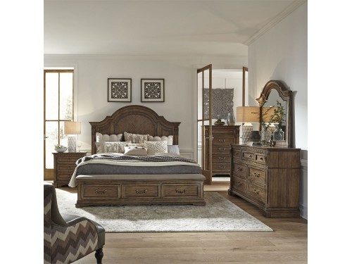 Haven Hall King Storage Bed, Dresser & Mirror, Chest, Night Stand