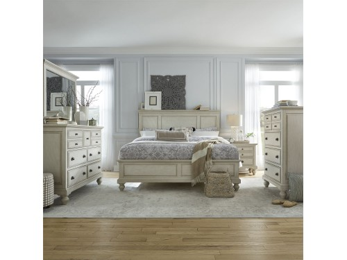 High Country Queen Panel Bed, Dresser & Mirror, Chest, Night Stand