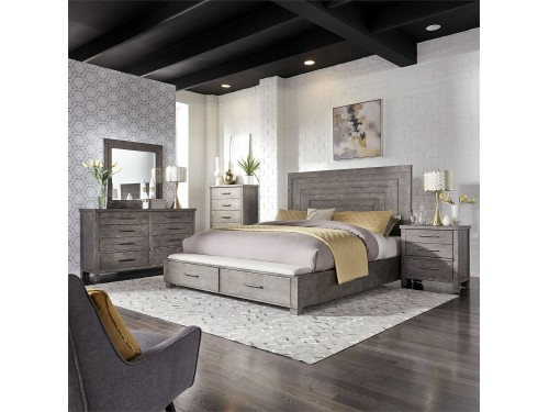 Modern Farmhouse Queen Storage Bed, Dresser & Mirror, Chest, Night Stand