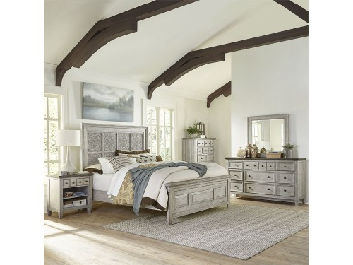 Heartland Queen Panel Bed, Dresser & Mirror, Chest, Night Stand