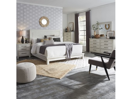 Modern Farmhouse Queen Platform Bed, Dresser & Mirror, Chest, Night Stand