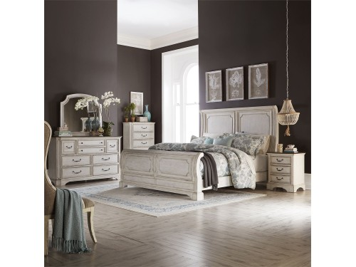 Abbey Road Queen Sleigh Bed, Dresser & Mirror, Chest, Night Stand