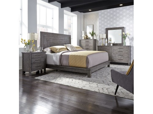 Modern Farmhouse King Platform Bed, Dresser & Mirror, Chest, Night Stand