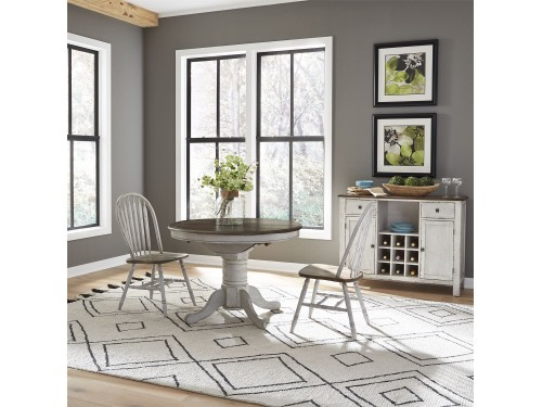 Carolina Crossing 3 Piece Round Table Set- White