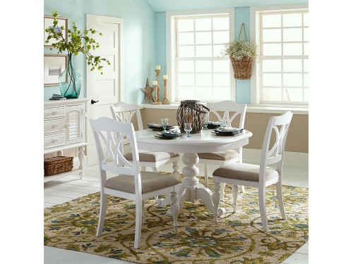 Summer House 5 Piece Pedestal Table Set