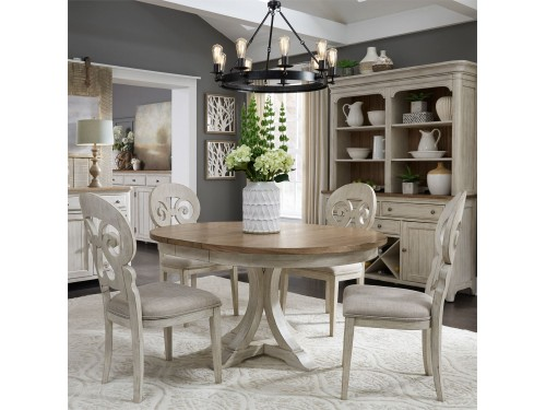 Farmhouse Reimagined 5 Piece Pedestal Table Set