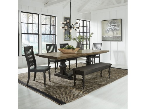 Harvest Home 6 Piece Trestle Table Set