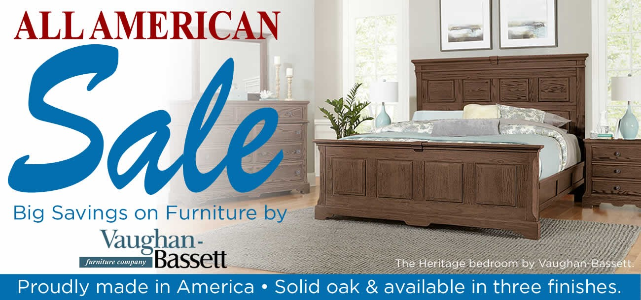 All American Furniture and Mattress Sale featuring furniture by Vaughan-Bassett.