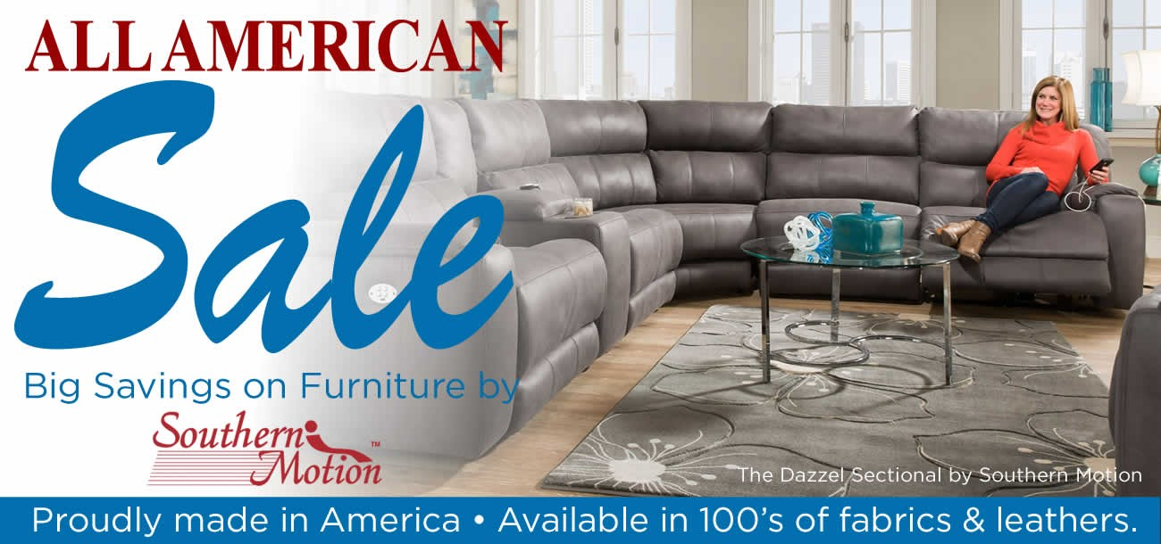 All American Furniture and Mattress Sale feturing furniture by Southern Motion.